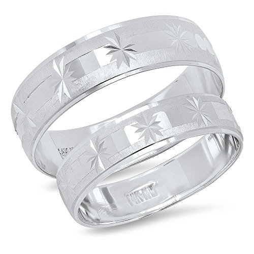 White Gold Snowflake - 14K Solid White Gold His & Her's Matching Satin Snowflake Design Wedding Band Ring Set (Choose a Size)