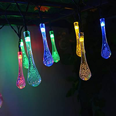 INST Solar Powered 20ft 30 LED Water Drop Solar String Fairy Waterproof Lights Christmas Lights Solar Powered String lights for Garden, Patio, Yard, Home, Christmas Tree, Parties
