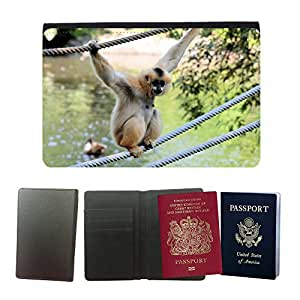 Hot Style PU Leather Travel Passport Wallet Case Cover // M00111713 Monkey Ape Gibbon Animal Wildlife // Universal passport leather cover