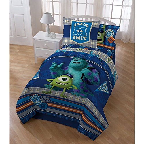 3 Piece Kids Blue Monster Univrsity The Movie Theme Comforter Twin Set, Disney Pixar Characters Sulley Mike Wazowski Scare Care Time Bedding, Monsters Inc Plaid Stripe Themed Pattern Green Orange Grey