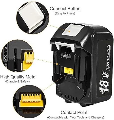 MANUFER 2Pack BL1860B 18V 5.5Ah Li-ion Replacement Battery for Makita BL1850B BL1860B BL1850 BL1840B BL1840 BL1830 BL1845 LXT-400 for Makita Battery with LED Indicator