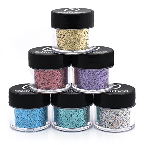 Holographic .040 / 1MM Hexagon Glitter - 6 PK Loose Glitter Kit - Solvent Resistant and Great for Nail Art Polish, Gels, Art and Crafts, & Acrylics Supplies - Made in the USA! (10 Gram Jars)