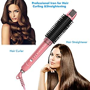 OLAXER- 3-in-1 Ceramic Hair Straightener, Hot Brush & Curling Iron – with Ionic Technology & 360° Swivel Cord, Pink-Black