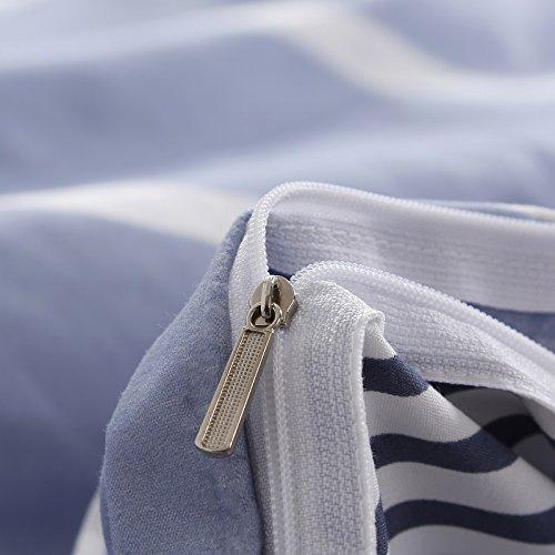 Bedding Children Duvet Cover Set Flat Bed Sheet Pillowcase No Comforter 4pcs SJD Twin Full Queen Full Love Lasting Stripe lattices Designs for Kids Children (Lasting Stripe,Blue, Twin,59''x78'') by Nova (Image #6)
