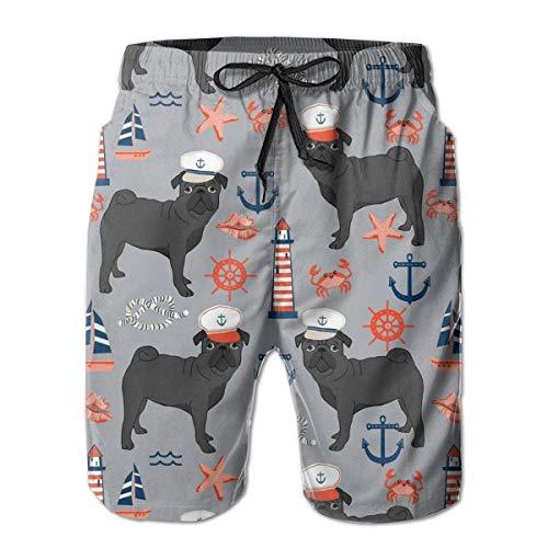Oswz Black Pug Men's Beach Swimming Trunks Boxer Brief Swimsuit Swim Underwear Boardshorts with Pocket