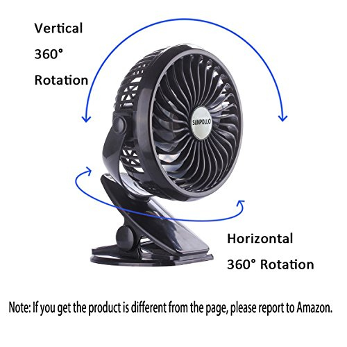 SUNPOLLO Clip on Fan and Desk Fan 2 in 1, Rechargeable Battery Operated Fan Baby Stroller Fan, USB or Battery Powered(Included), Adjustable Speeds for Baby Stroller, Outdoor Activity and Home