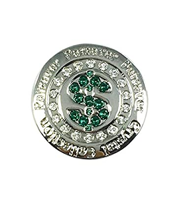 Premium Golf Ball Marker made with Swarovski Crystals plus Hat Clip - Dollar $ - Unmatched Brilliance and Sparkle on the greens by Parsaver