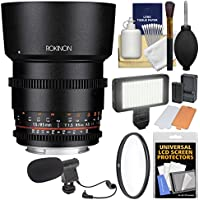 Rokinon 85mm T/1.5 DS Cine Lens with UV Filter + Video Light + Microphone Kit for Olympus/Panasonic Micro 4/3 Cameras