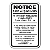 """Signmission Supplemental Equine Liability 12"""" X 18"""" Heavy Gauge Aluminum Sign Warning Statute Horse Barn Stable Farm Signs, 1.31 Pound"""