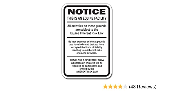 Amazon com: SignMission 1 Supplemental Equine Liability Sign