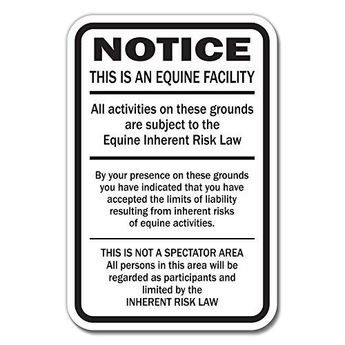 Supplemental Equine Liability Sign Warning Statute Horse Barn Stable Farm - Horse Washington