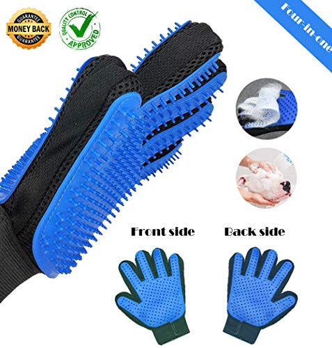 Pet Hair Remover Brush Grooming Glove Massage Deshedding Mitt Bathing Gloves for Dogs & Cats & Horses Double Sides Upgrade Version 4 in 1 Summer 259 Soft Rubber Tips (4in Comb 1 Grooming)