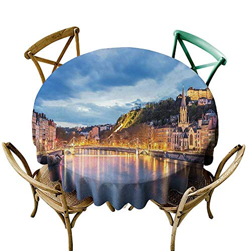 Round Tablecloth Black European,View of Saone River in Lyon City at Evening France Blue Hour Historic Buildings,Multicolor D60,for Party -