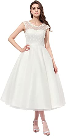 Apxpf Women S Vintage 1950s Style Polka Dotted Little Wedding Dress Tea Length Amazon Co Uk Clothing