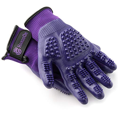 HandsOn Pet Grooming Gloves – Patented #1 Ranked, Award Winning Shedding, Bathing, & Hair Remover Gloves – Gentle Brush for Cats, Dogs, and Horses