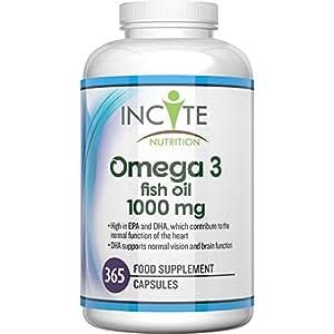 Incite Nutrition Suplemento Omega 3 de 1000MG Máxima Potencia Con 365 Cápsulas Blandas (Suministro Para 1 Año)Ayuda al Cuidado de las Articulaciones y a Mantener el Cabello Sano – Contiene Aceite de Pescado/Aceite de Hígado de Bacalao, Ácidos Grasos de Omega 3