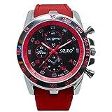 Quaanti Mens Outdoor Sport Watch Stainless Steel Luxury Sport Analog Quartz Modern Men Fashion Wrist Watch Brand Watches (Red)