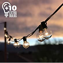 50ft Black String Lights, 60 G40 Globe Bulbs (10 Extra); Connectable, Waterproof, Indoor/Outdoor Globe String Lights for Patios, Parties, Weddings, Backyards, Porches, Gazebos, Pergolas & More