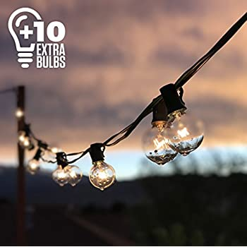 50ft Black String Lights w/ 60 G40 Globe Bulbs (10 Extra); Connectable, Waterproof, Indoor/Outdoor Globe String Lights for Patios, Parties, Weddings, Backyards, Porches, Gazebos, Pergolas & More