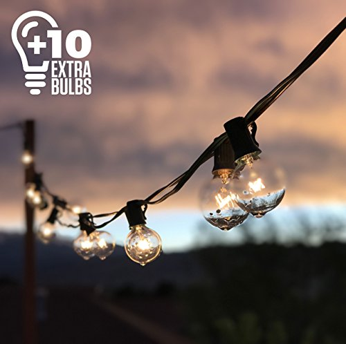 50ft Black String Lights, 60 G40 Globe Bulbs (10 Extra); Connectable, Waterproof, Indoor/Outdoor Globe String Lights for Patios, Parties, Weddings, Backyards, Porches, Gazebos, Pergolas & (Patio Party String)