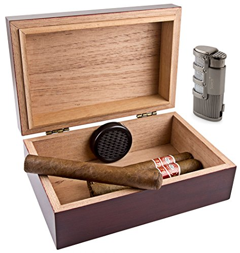 Scorch Torch Travel 10 Cedar Wood Cigar Humidor Humidifier & Olympus Triple Jet Flame Butane Torch Cigarette Cigar Lighter Combo Set with Punch Cutter Tool (Humidor Repair)