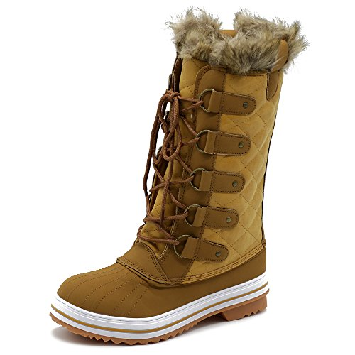 Ollio Women Shoes Lace up Quilted Fur Snow Duck Boots TWB5126 (8 B(M) US, ()
