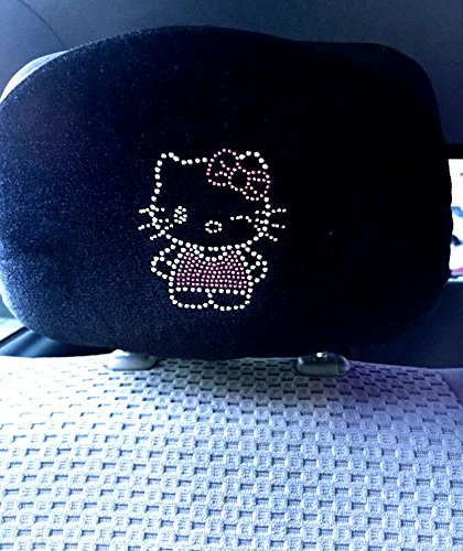 Hello Kitty Winking Crystal Bling Rhinestone Headrests for Front Seat Covers (PAIR)