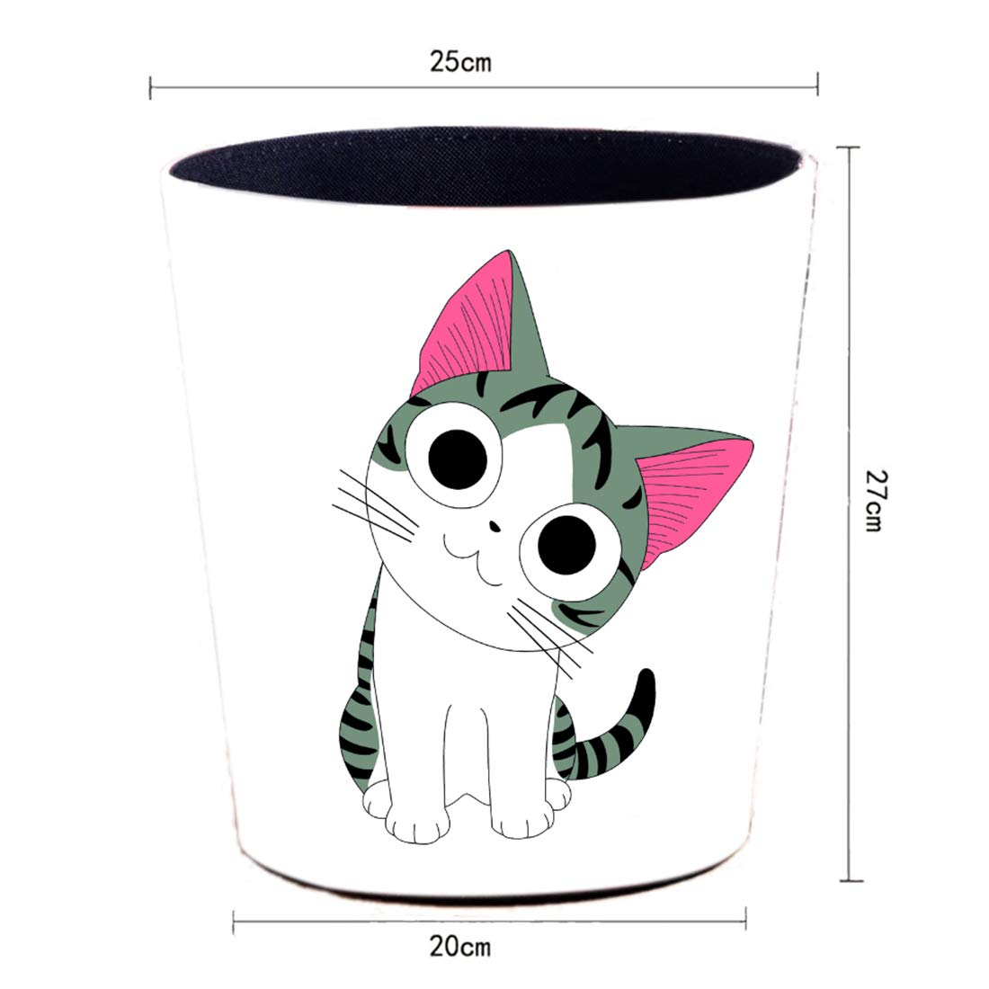 25 x 20 x 27cm OVERWELL Waterproof Waste Paper Bin 10L Waste Paper Basket for Bedroom Kitchen and Office Colorful Cat