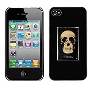 rígido protector delgado Shell Prima Delgada Casa Carcasa Funda Case Bandera Cover Armor para Apple Iphone 4 / 4S /Retro Skull Love Couple Black Poster/ STRONG