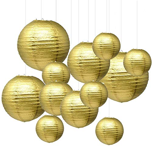 Gold Paper Lanterns (Renohef Gold Round Paper Lanterns,Metal Framed Hanging Lanterns 12pcs,6inch,8inch,10inch,12inch 4 Sizes,Birthday Wedding Party Supplies Favors Hanging)
