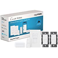 Lutron Caseta Deluxe Smart Switch Kit   Compatible with Alexa, Apple HomeKit, and the Google Assistant   P-BDG-PKG2WS-WH…