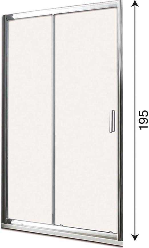 Mampara de ducha con puerta corredera para nicho, perfil cromado, altura 195 cm, cristal 6 mm, antical: Amazon.es: Bricolaje y herramientas