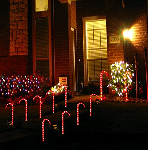 amazoncom prextex christmas candy cane pathway markers set of 10 christmas indooroutdoor decoration lights garden outdoor - Candy Cane Outdoor Christmas Decorations