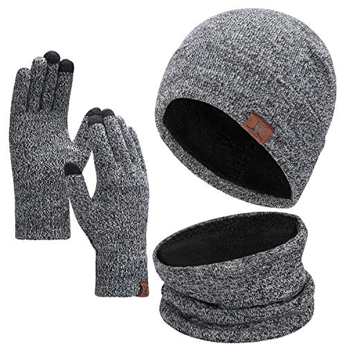 Winter 1-3 PCS Beanie Hat Gloves Scarf for Men and Women Knit Fleece Lined Warm Touchscreen Gloves Beanie Infitiny Scarf Set