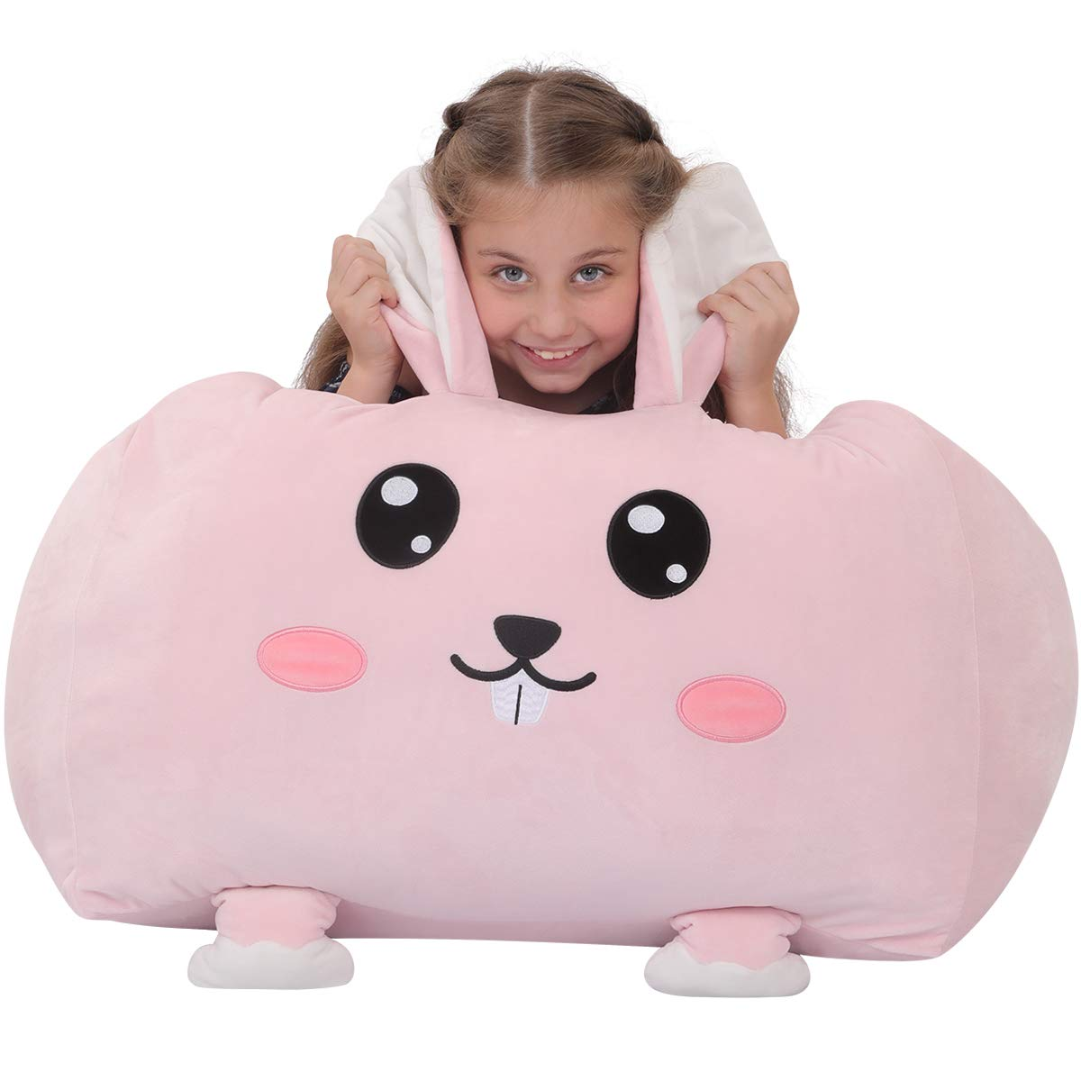 youngeyee Giant Rabbit Stuffed Animal Storage Kids Bean Bag Chair, 24x24x20 Inches Velvet Toy Organization and Storage Zipper Bags for Plush Toy Pillows Blankets Towels Clothes by youngeyee