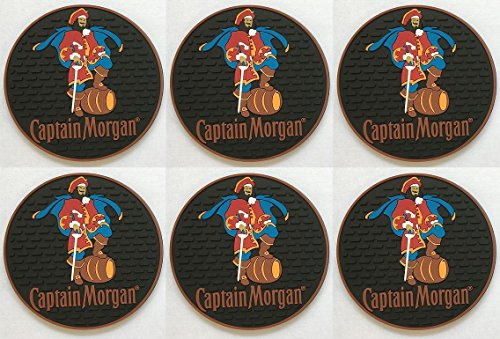 Captain Morgan Spiced Rum 6 Rubber Bar Coasters Spill Mat Mini Bar Mat