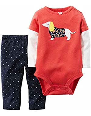 Carter Infant Girl Dog 2 PC Outfit Orange Bodysuit Creeper Blue Dot Leggings