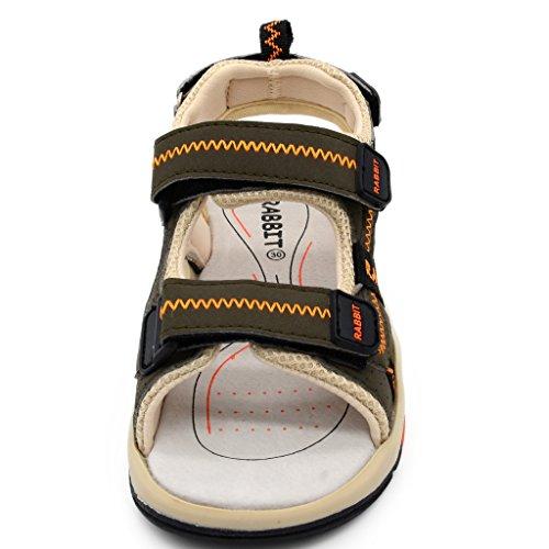 Bwiv sandalias de verano con velcro para niño forradas de piel sandalias deportivas coloridas de las tallas 25-37 EU Gris oscruo y naranja