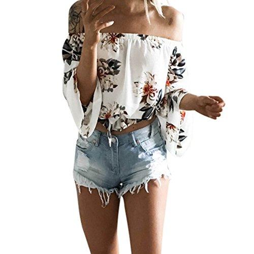 HIRIRI Women Summer Off Shoulder Chiffon Blouses Ruffles Long Sleeves Sexy Floral Tops Casual T Shirts White