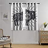 Born to Fish Shower Curtain Wild and Free Customized Curtains Ethnic Bison with Grunge Effect Born to be Wild Quote Native America Blackout Drapes W72 x L72(183cm x 183cm) Charcoal Grey White