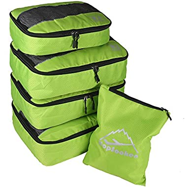 5pc Packing Cubes Set Large Travel Luggage Organizer 4 Cubes 1 Laundry Pouch Bag (green)