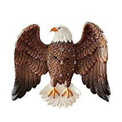 Collections Etc Patriotic Bald Eagle with Spread Wings Decorative Wall Clock for Any Room in Home