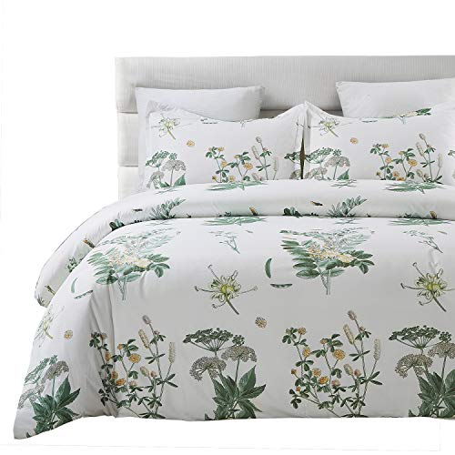 Vaulia Original Design Lightweight Microfiber Duvet Cover Set, Floral Botanicals Printed Pattern - Queen Size, White/Green Color