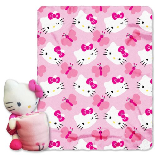 Hello Kitty,Butterfly Hugger and Fleece Throw Blanket Set, 40