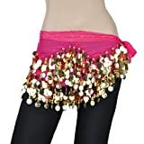 BellyLady Belly Dance Hip Scarf, Gold Coins Costume Skirt, Christmas Gift Idea ROSERED