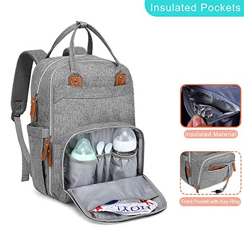 Diaper Bag Backpack, BabbleRoo Neutral Travel Back Pack for Mom & Dad, Large Capacity Waterproof Baby Nappy Changing Bags for Boys & Girls, Multifunction & Stylish, Gray
