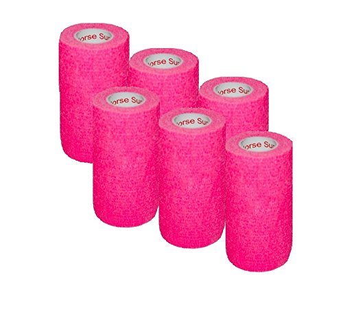 "3"" Medical Wrap Tape Bulk, Self Adherent Rap Tape, Self Adhering Stick Bandage, Self Grip Roll, Power Flex Wrap - 3 inches x 15' Feet - 6 Rolls - Neon Pink by Prairie Horse Supply (Image #3)"