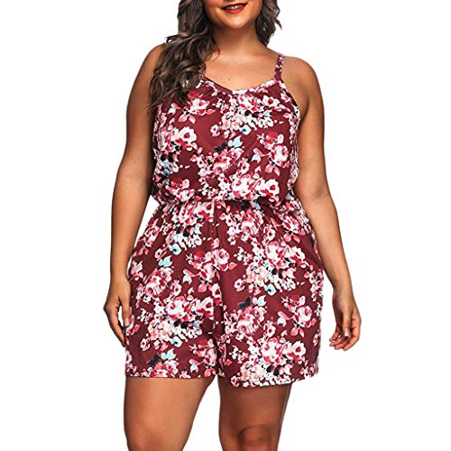 Plus Size Jumpsuits Summer Floral Printed Sleeveless V-Neck Rompers Short Jumpsuits Rompers by Gyouanime Red