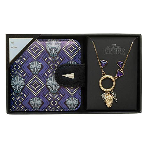 Bioworld Black Panther Jewelry Set Charm Necklace with Compact -