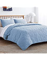 VEEYOO Twin Quilt Set Bedspread - Soft Microfiber Lightweight Quilt Set Coverlet for All Seasons, Breathable 2 Pieces Baby Blue Quilt Set Twin Size with Sham (68 x 98 inches)
